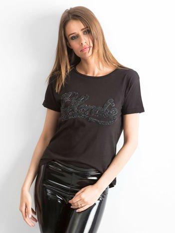 T-shirt z napisem BLONDIE czarny