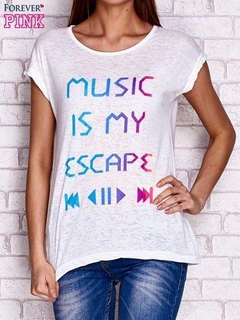 T-shirt z napisem MUSIC IS MY ESCAPE biały