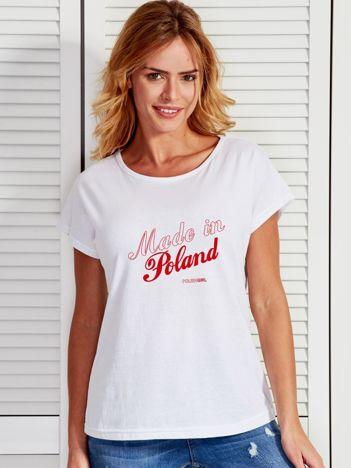T-shirt z patriotycznym nadrukiem MADE IN POLAND biały