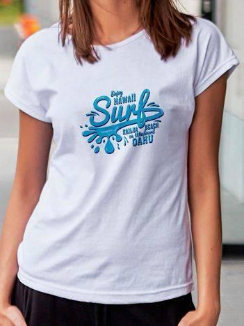 T-shirt z surferskim nadrukiem biały