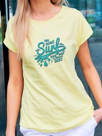 T-shirt z surferskim nadrukiem żółty