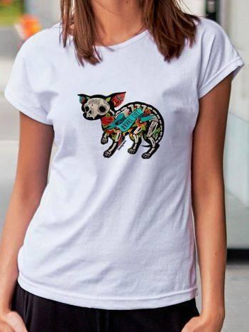 T-shirt z tatuażowym nadrukiem kota biały