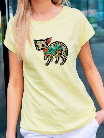 T-shirt z tatuażowym nadrukiem kota żółty