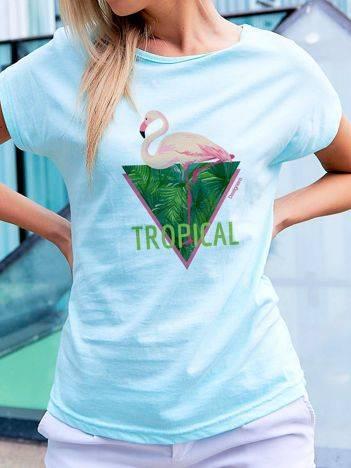 T-shirt z tropikalnym nadrukiem turkusowy