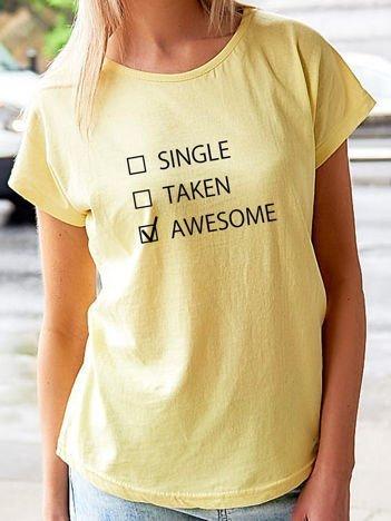 T-shirt z zabawnym nadrukiem żółty