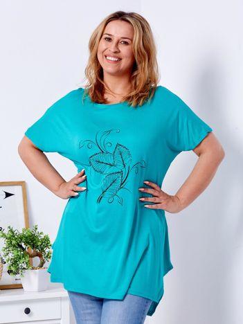 T-shirt zielony z motywem roślinnym PLUS SIZE