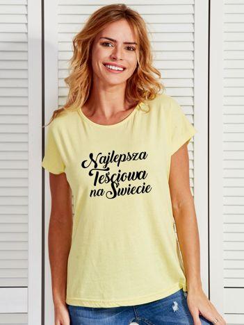 T-shirt żółty NAJLEPSZA TEŚCIOWA NA ŚWIECIE