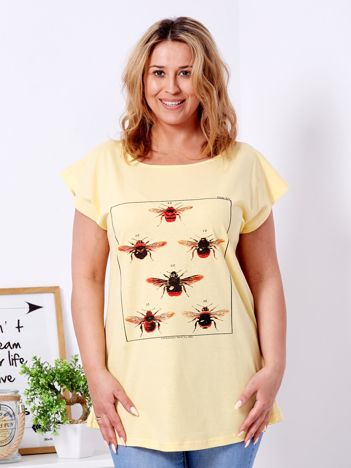 T-shirt żółty z nadrukiem owadów PLUS SIZE