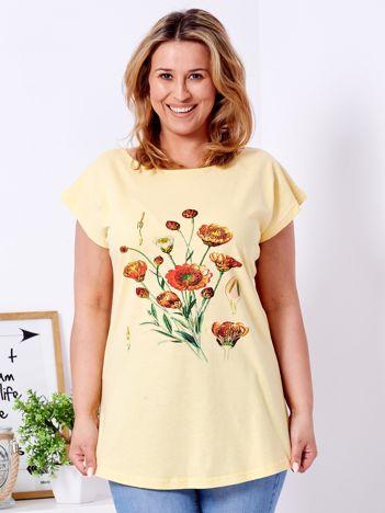 T-shirt żółty z nadrukiem roślinnym PLUS SIZE