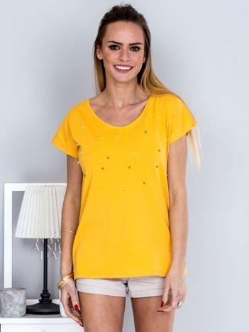 T-shirt żółty z perełkami