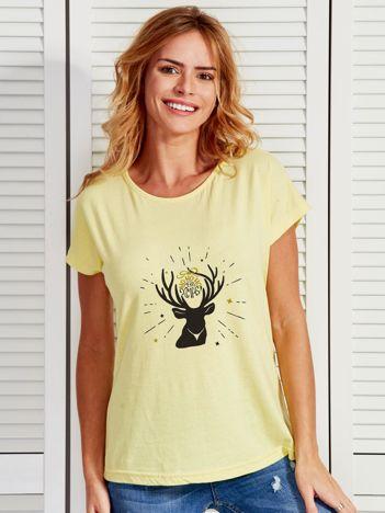 T-shirt żółty z reniferem i napisem