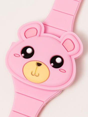 TEDDY BEAR Zamykany Ozdobny Jasnoróźowy Zegarek Miś