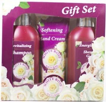 THE ROSE Zestaw Podarunkowy White Rose: szampon, żel pod prysznic, krem do rąk