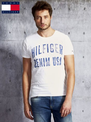 TOMMY HILFIGER Biały t-shirt męski z napisem