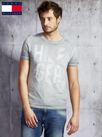 TOMMY HILFIGER Szary dekatyzowany t-shirt męski