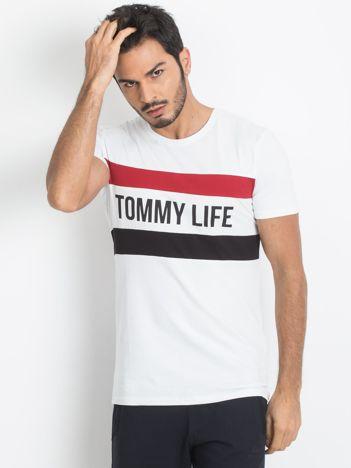 TOMMY LIFE Biała koszulka męska