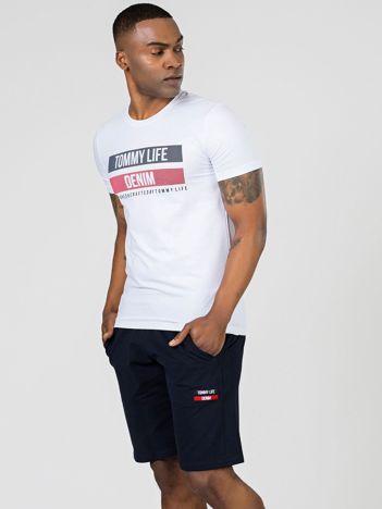 TOMMY LIFE Biały męski t-shirt