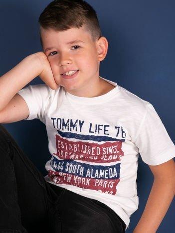 TOMMY LIFE Biały t-shirt chłopięcy