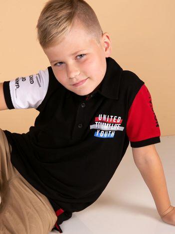 TOMMY LIFE Czarna bawełniana koszulka polo dla chłopca