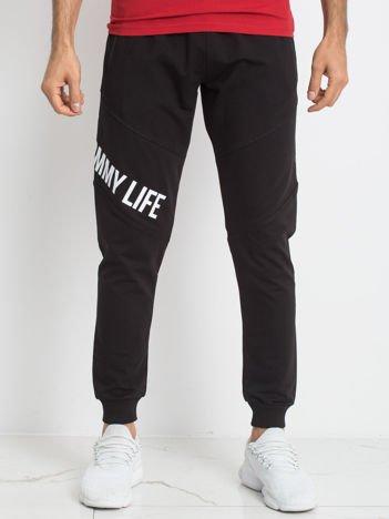 TOMMY LIFE Czarne męskie spodnie dresowe