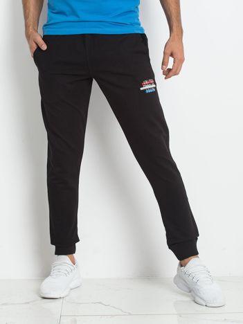 TOMMY LIFE Czarne spodnie dresowe męskie
