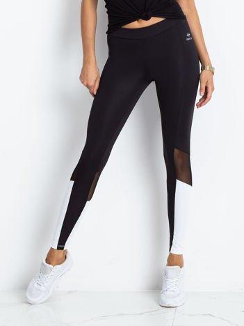 TOMMY LIFE Czarno-białe sportowe legginsy