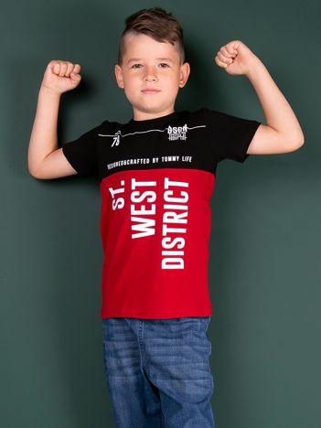 TOMMY LIFE Czarno-czerwony t-shirt dla chłopca