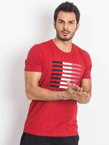 TOMMY LIFE Czerwony t-shirt męski z nadrukiem