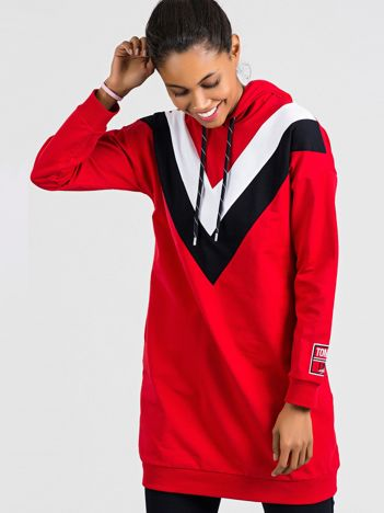 TOMMY LIFE Długa bluza czerwona