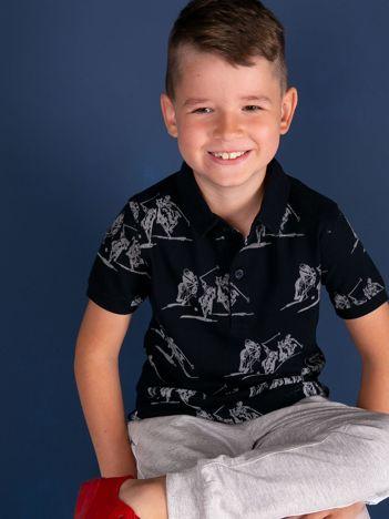 TOMMY LIFE Granatowa koszulka polo dla chłopca