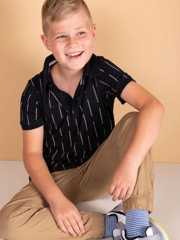TOMMY LIFE Granatowa koszulka polo dla chłopca w paski