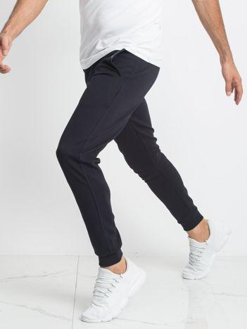 TOMMY LIFE Granatowe męskie spodnie dresowe