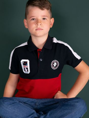 TOMMY LIFE Granatowo-czerwona bawełniana chłopięca koszulka polo