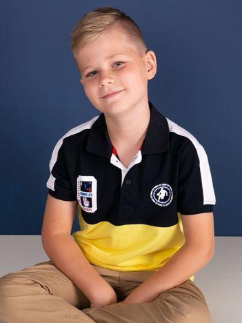 TOMMY LIFE Granatowo-żółta bawełniana chłopięca koszulka polo