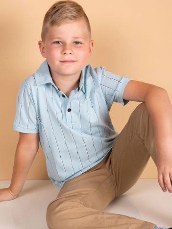 TOMMY LIFE Jasnoniebieska koszulka polo dla chłopca w paski