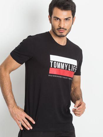 TOMMY LIFE Męski czarny t-shirt