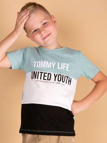 TOMMY LIFE Miętowo-czarny t-shirt dla chłopca