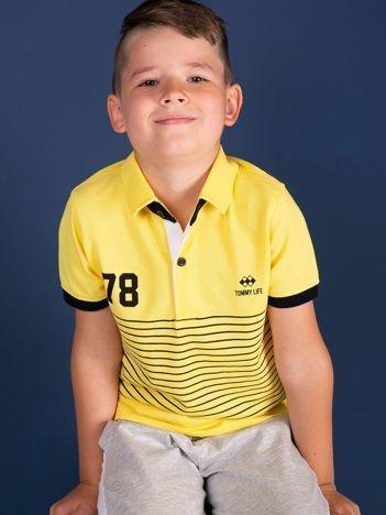 TOMMY LIFE Żółta chłopięca koszulka polo