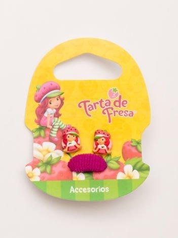 TRUSKAWKOWE CIASTKO Zestaw kolczyki + różowa gumka do włosów dla dziewczynki