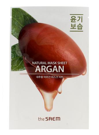 The SAEM Natural Mask Sheet Koreańska maska na tkaninie Argan nawilżająco-odżywcza 21 ml