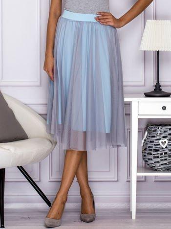 Tiulowa spódnica midi jasnoniebieska