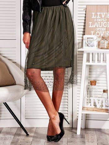 Tiulowa spódnica z perełkami ciemnozielona