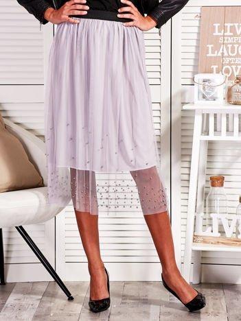 Tiulowa spódnica z perełkami szara