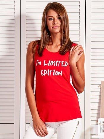 Top damski z napisem I'M LIMITED EDITION czerwony