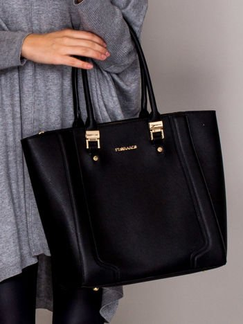 Trapezowa torba shopper saffiano czarna
