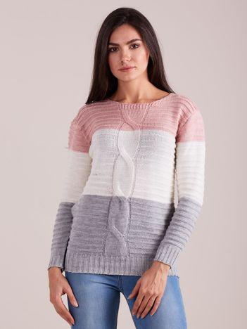 Trójkolorowy sweter damski