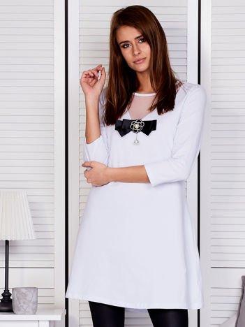Tunika damska z siatkową wstawką biała