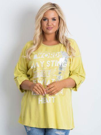Tunika plus size z nadrukiem żółta