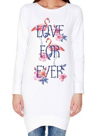 Tunika we flamingi z napisem LOVE FOR EVER biała