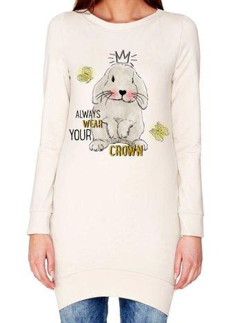 Tunika z królikiem i zabawnym napisem ecru